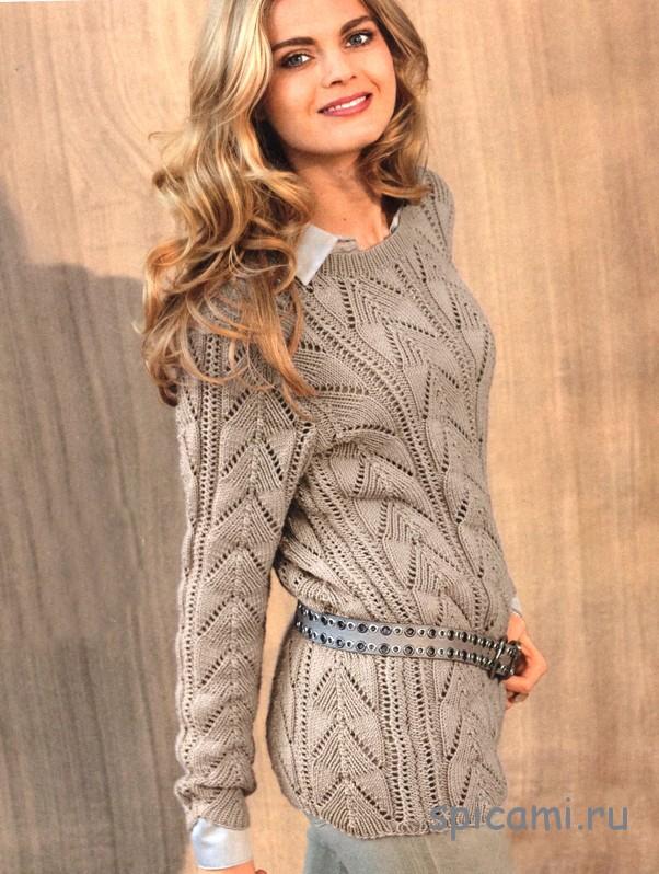 пуловер ажурный узор вязание