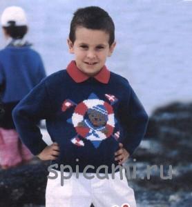 вязаный свитер для мальчика с описанием