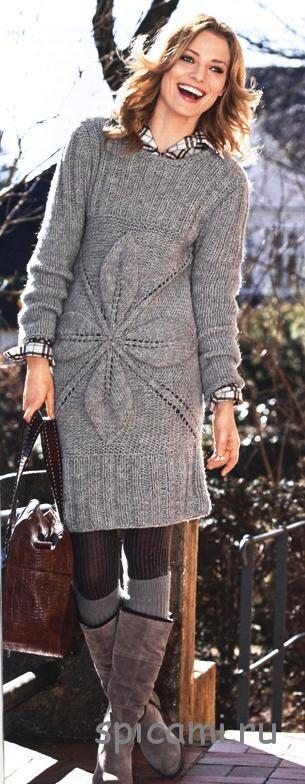 Серые платья вязанные спицами