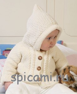вязаная курточка с капюшоном для малыша