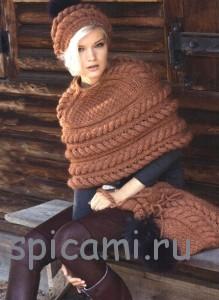 вязаня шапка, накидка и сумка