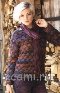 пуловер с плетенным узором