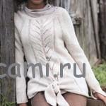 Белый пуловер с завязками
