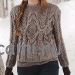 Серый пуловер с косами