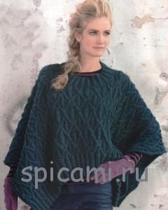 вязаный поноч-пуловер спицами