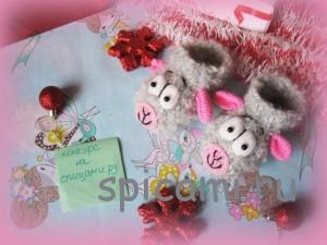 вязаные тапочки овечки