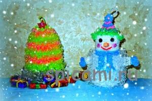 мочалка крючком снеговик