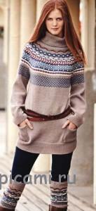 вязаный пуловер с жаккардом и гетры