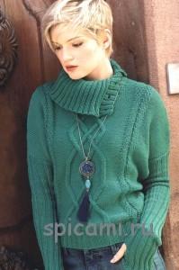 вязаный пуловер с удлиненными рукавами