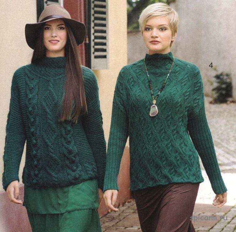 вязаные пуловеры с косами спицами