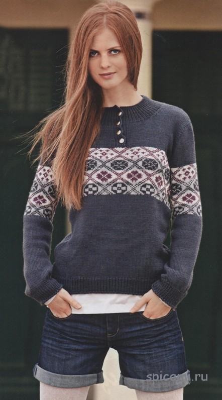 пуловер с застежкой поло вязание спицами крючком уроки вязания