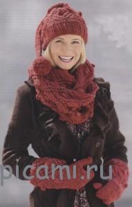 вязаная шапка, шарф и варежки спицами