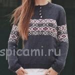 Пуловер с застежкой поло