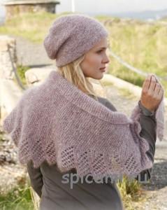 вязаная шаль и шапочка из мохера