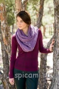 вязаный широкий шарф с косами