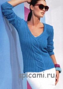 вязаный пуловер с косой