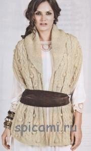вязаный шарф накидка спицами