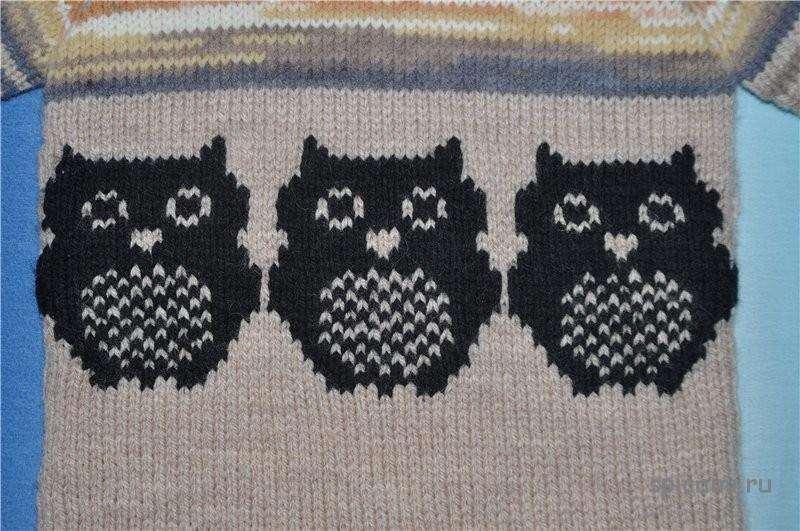 Вязание на спицах джемпер сова