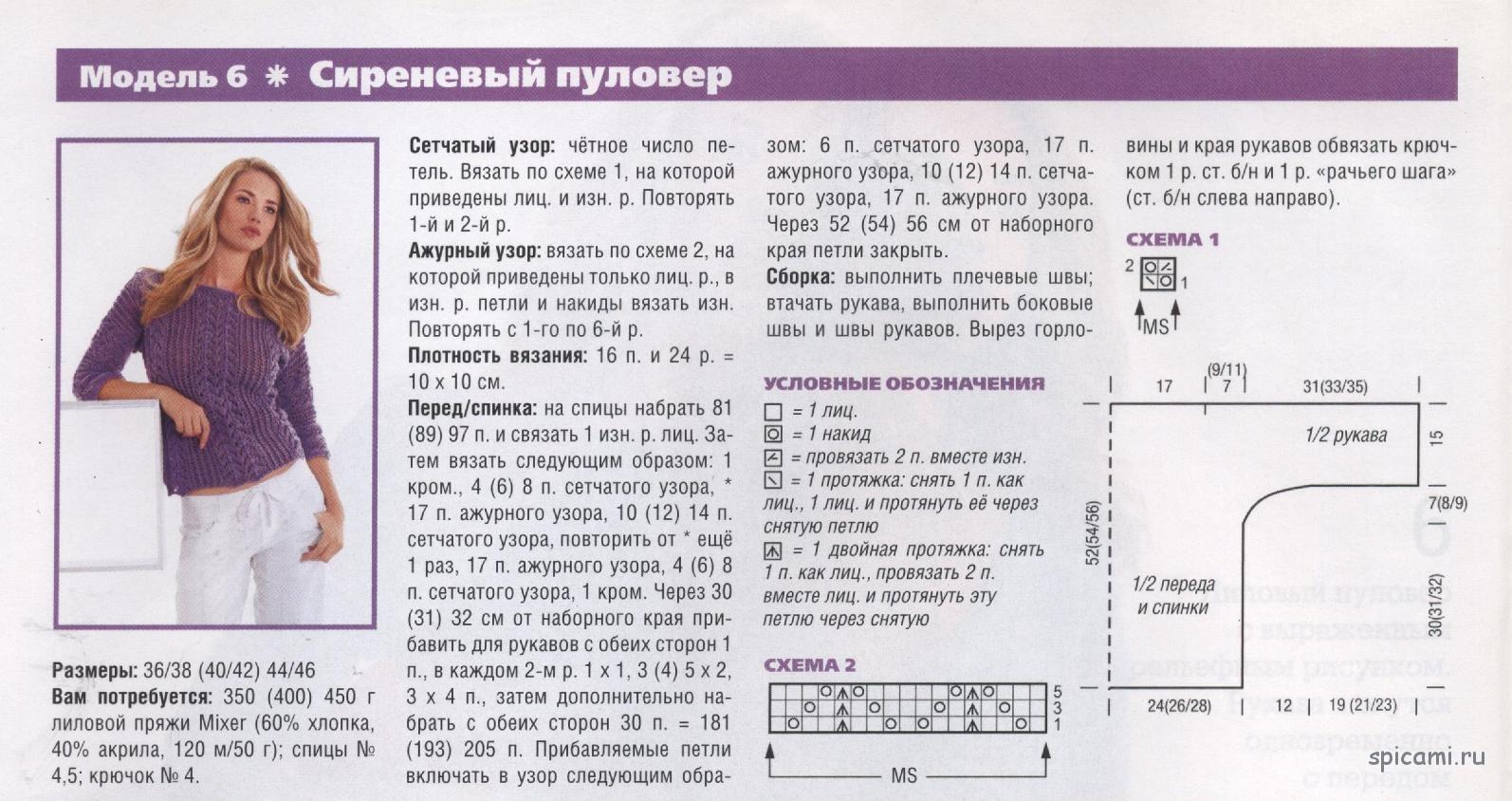 Описание вязания на спицах ажурных джемперов