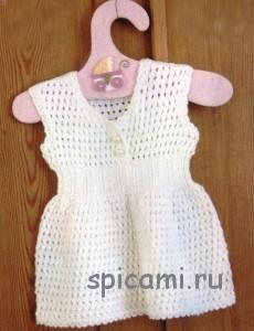 вязаное платье для девочки до года