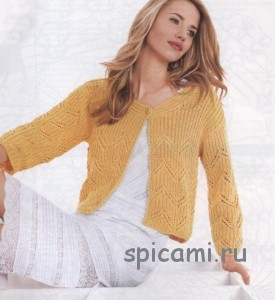 желтый жакет на лето спицами