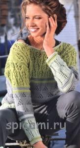 удлиненный пуловер с полосами