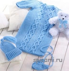 спальный мешок спицами для малыша