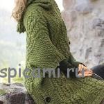 Вязаное пальто-пончо