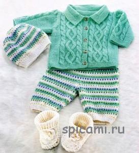 вязаный жакет и штанишки для малыша