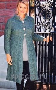 вязаное палтье спицами