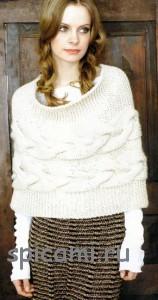 вязаное пончо спицами