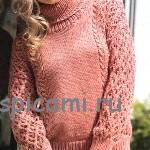 Вязаный свитер с объемными рукавами