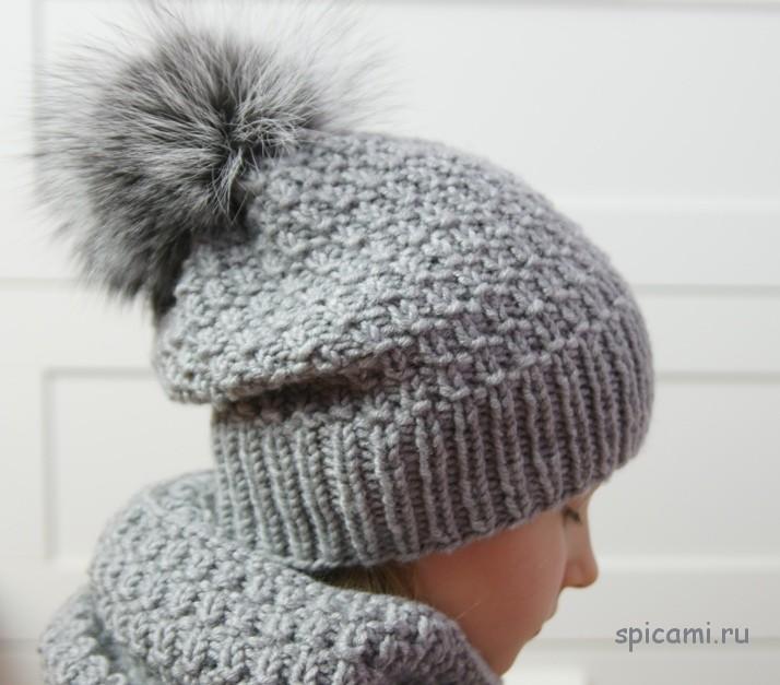 Вяжем спицами детская шапка видео урок