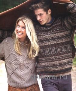 красивый вязаный пуловер с косами