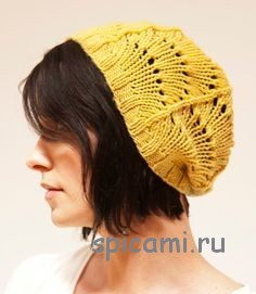 ажурная шапка спицами