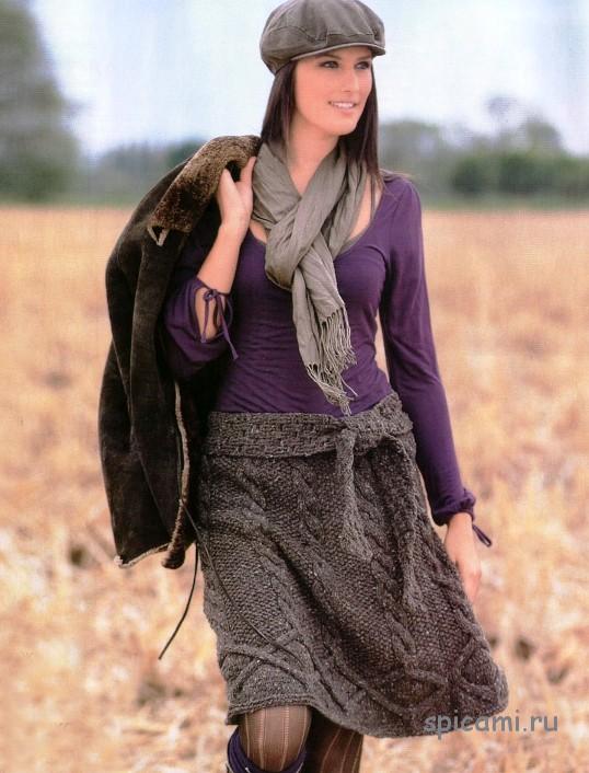 Вязаная юбка для подростка