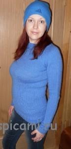 вязаный пуловер лицевой гладью