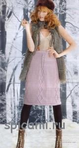 теплая вязаная юбка