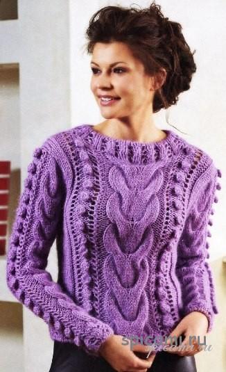 Пуловер с косами и бантом 3