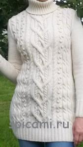 теплый вязаный пуловер спицами