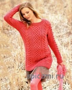 коралловый пуловер с косами