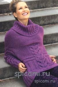 вязаный объемный пуловер