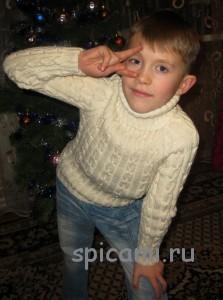 вязаный свитер для мальчика спицами