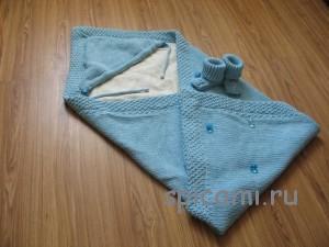 конверт и пинетки для малыша спицами
