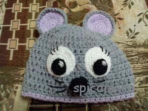 вязаная шапочка мышка