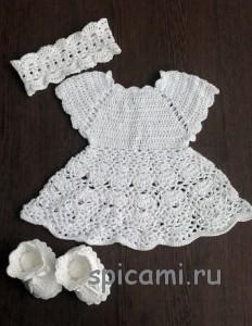 вязаное платье крючком для девочки