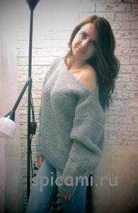 вязаный пуловер объемный