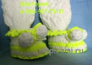 штанишки и пинетки для новорожденного спицами