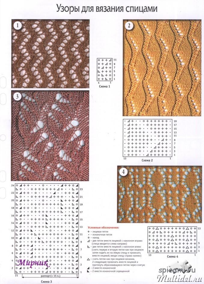 Схемы и узоры для вязки спицами
