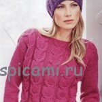 Пуловер с косой цвета фуксии